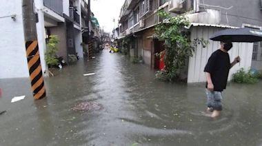 凌晨大雨 台南永康區巷弄積淹、水深及膝