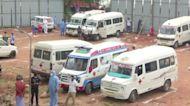 Ambulances line up outside India crematorium