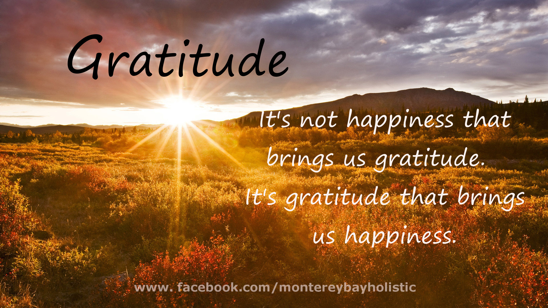 ... that brings us gratitude, it's gratitude that brings us happiness