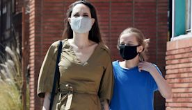Angelina Jolie & Daughter Vivienne, 12, Shop For Pet Supplies In Full Protective Gear — Pics