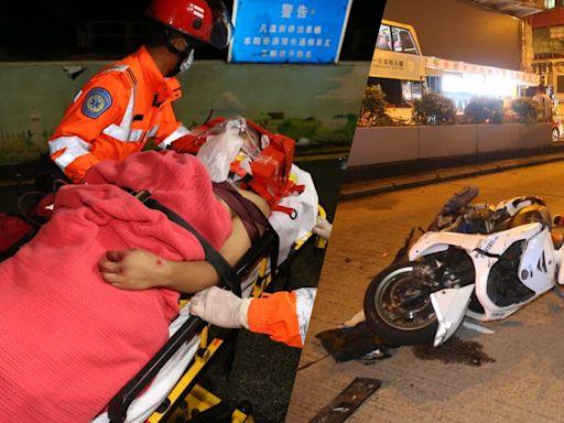 送外賣綿羊仔疑衝紅燈 遭私家車撞飛10米騎士重創 | 蘋果日報