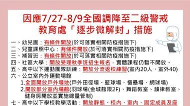 金門因應7/27起二級警戒 教育處:「逐步微解封」措施