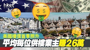 美國樓價首季照升 平均每位供樓業主賺26萬 - 香港經濟日報 - 即時新聞頻道 - 國際形勢 - 環球社會熱點