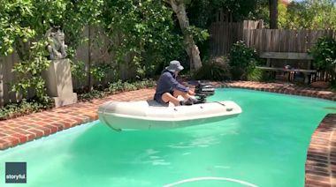 Back on the Water: Man Boats Around Pool to Satisfy Urge During Coronavirus Isolation