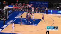 Immanuel Quickley with an and one vs the Charlotte Hornets