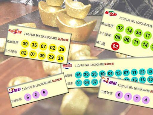 4/8 威力彩、雙贏彩、今彩539 頭獎均摃龜