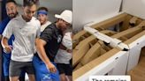 It takes 9 Olympians to break one of the Olympic Village's cardboard beds, viral TikTok shows