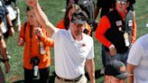 Watch as Oklahoma State coach Mike Gundy dances in locker room after win over No. 25 Texas