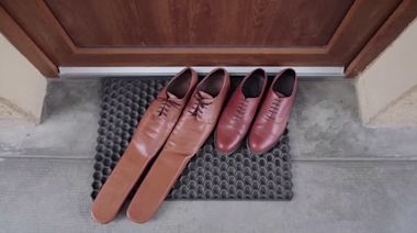 A pair of size 75 shoes to ensure social distancing