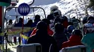 Bustling ski slopes in Ukraine, as Europe debates tourism