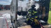 Lehigh Acres trailer set ablaze by lawnmower