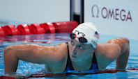 Katie Ledecky swims a total of 2,100 meters in her marathon Olympic day