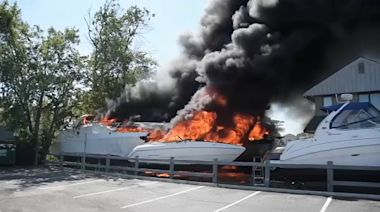 4 boats go up in flames at business in Babylon, 1 man injured
