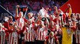Brentford into the Premier League after dominant win over 10-man Swansea