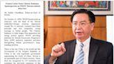 印媒硬起來!專訪吳釗燮遭警告 怒PO中國威脅信回嗆
