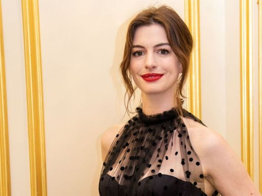 Anne Hathaway Celebrates 'The Witches' Premiere in Stunning Rooftop Gown Shoot