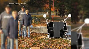 Satellite crashes into couple's backyard