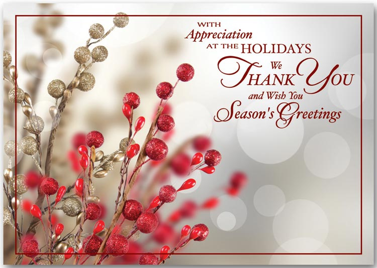 special thank you during the holiday season printed on the front of ...
