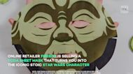 This sheet mask turns you into a cucumber-scented Baby Yoda