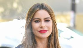 Sofia Vergara Gets Dolled Up in a Baby Pink Suit & Towering Velvet Sandals
