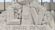Super Bowl Sand Sculpture Welcomes Fans to Tampa's Raymond James Stadium