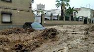 Car Swept Down Street in Toledo, Spain, as Flash Flooding Hits Region