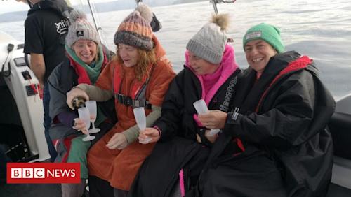 Dál Riata Channel: First all-female relay team swim 'perilous' waterway