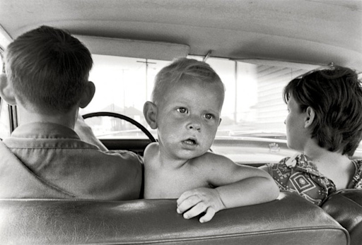 Cornett family, Kentucky, 1972. Family in car, baby looking back ...