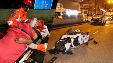 送外賣綿羊仔疑衝紅燈 遭私家車撞飛10米騎士重創   蘋果日報