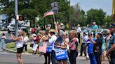 Raucous Trump crowd, a call for unity, a dog bite: The scene outside Biden's Mack Trucks stop. (PHOTOS)