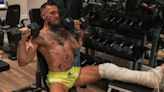 Conor McGregor hits gym for workout in full cast just weeks after breaking leg