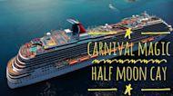 Drone footage of Carnival Magic at Half Moon Cay, Bahamas