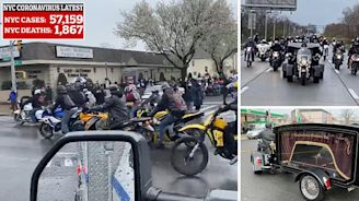 Shocking moment 400 bikers fill street outside Queens funeral home