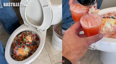 糖果汽水倒馬桶製「雜果賓治」 網紅女捱轟:唔知有幾多細菌? | Plastic