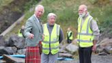 Kilted Charles meets beach-cleaning group in north of Scotland