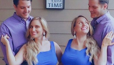 Twin sisters married twin brothers. Now they all live together - and breastfeed each other's babies.