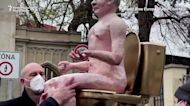 Czech protesters show naked Putin effigy in Prague
