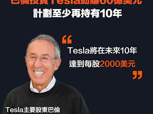 【TSLA】巴倫投資Tesla勁賺60億美元,計劃至少再持有10年