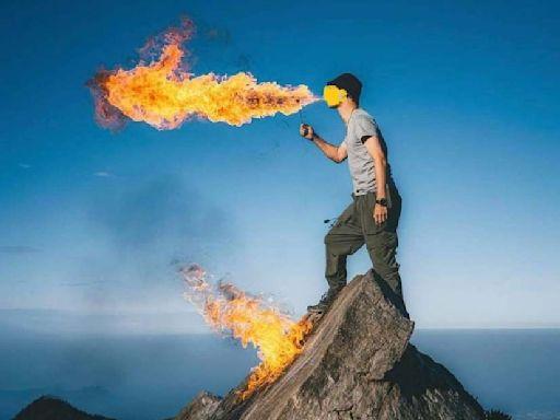 一圖惹怒眾山友!男子登鳶嘴山玩噴火特技 林管處說重話了
