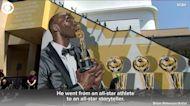 WEB EXTRA: Kobe Bryant Mural Shows His Oscar And NBA Championship Awards