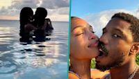 Michael B. Jordan & Lori Harvey Share Sweet Kisses In Infinity Pool On Romantic Getaway