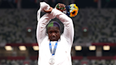 Raven Saunders makes 'X' protest gesture during Olympics medal ceremony