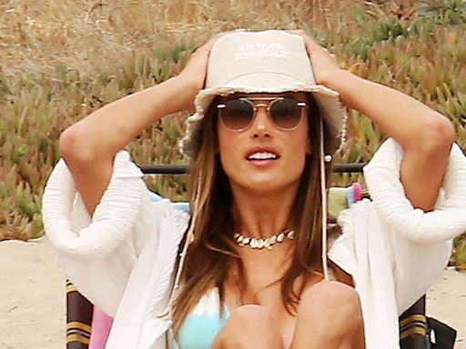 Alessandra Ambrosio Hikes in Biker Shorts, a Rainbow Hoodie & Unconventional Shoes