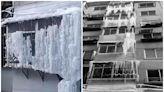 住宅頂樓漏水 一夜間全幢露台驚現冰瀑布