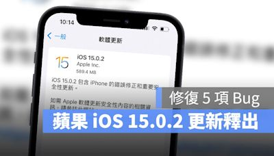 iOS 15.0.2 更新推出,蘋果再修復 5 項已知 Bug - 蘋果仁 - 果仁 iPhone/iOS/好物推薦科技媒體