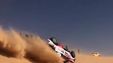 Rally car does 720-degree flip and miraculously remains intact