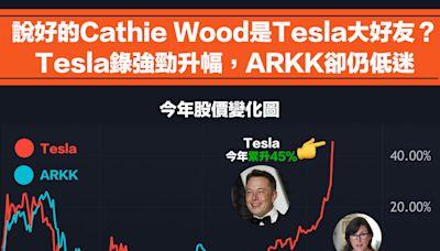 【女神跑輸】說好的Cathie Wood是Tesla大好友?Tesla錄強勁升幅,ARKK卻低迷