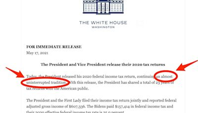 White House issue subtle dig at Trump over unreleased tax returns, saying Biden and Harris releasing their 2020 tax returns is an 'almost uninterrupted' tradition