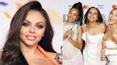 Jesy Nelson reacts after Little Mix mention her during winning BRITs speech
