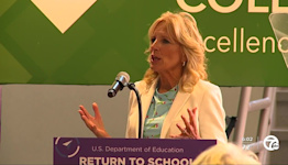 Dr. Jill Biden speaks at Oakland Community College's Royal Oak Campus